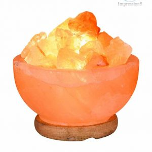 Natural Himalayan Salt Fire Bowl Lamp with Rough Salt Chunks & Switch, 6""