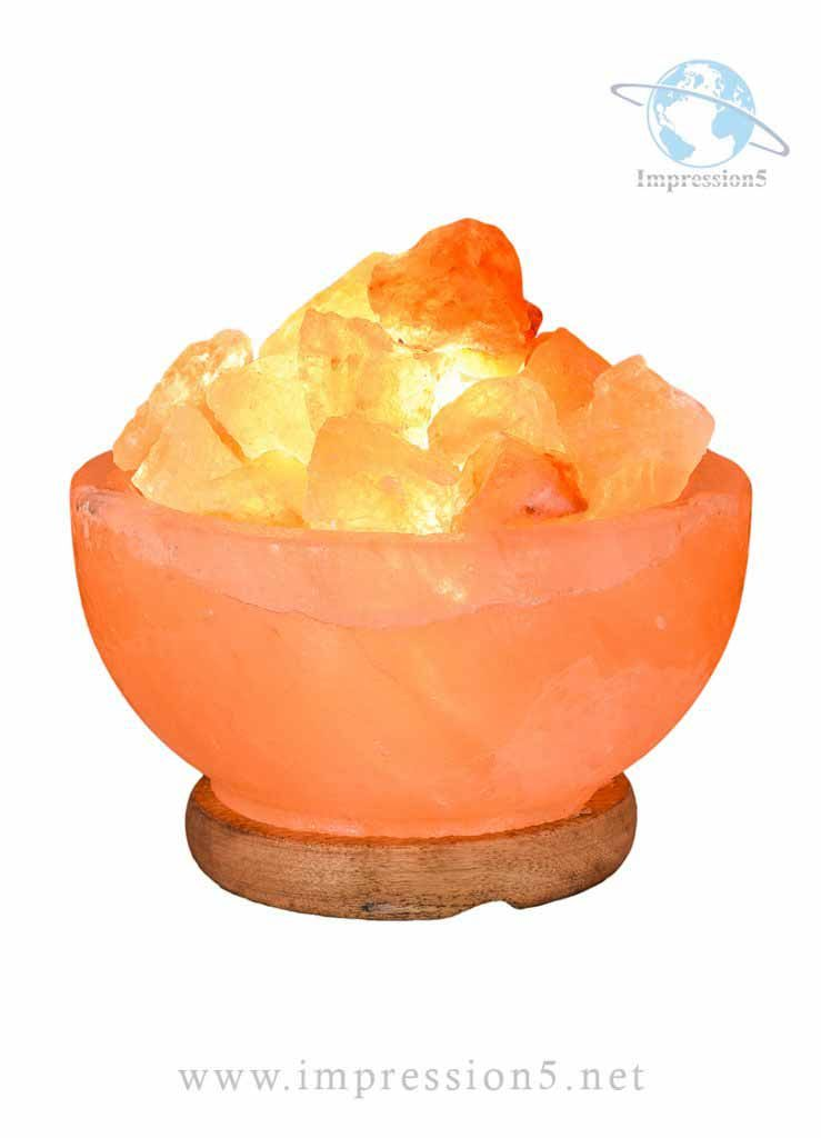 Natural Himalayan Salt Fire Bowl Lamp with Rough Salt Chunks & Switch, 6″